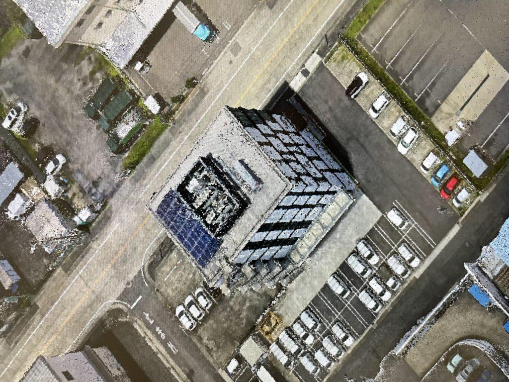 アロボクラウドを利用したビルの3D点群データ化